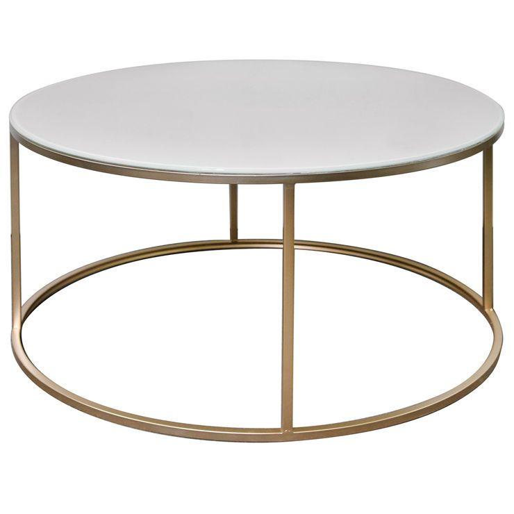 Studio Nova Gold Metal Glass Top Coffee Table Coffee Table