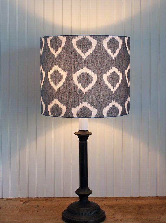 Lamp Shade Grey Ikat Medium Drum Lampshade Hand Woven