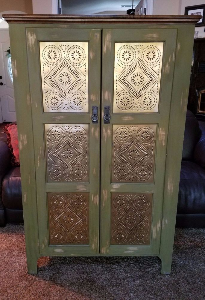 SOLD Handmade Pie Safe Cabinet With Punched Tin Panels In Distressed Finish  #Handmade #RusticPrimitive
