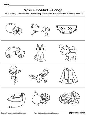Identify The Item That Does Not Belong Kindergarten Worksheets Printable Kindergarten Worksheets Kids Math Worksheets Categorizing worksheets for 1st grade