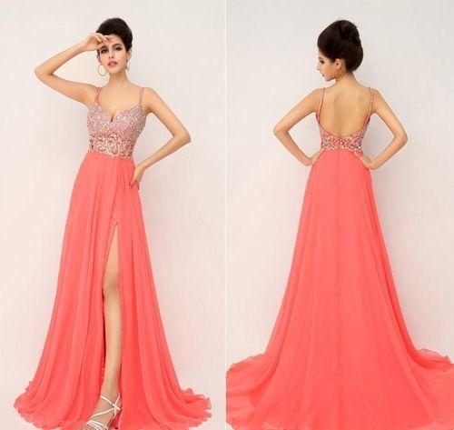Vestidos largos elegantes color salmon