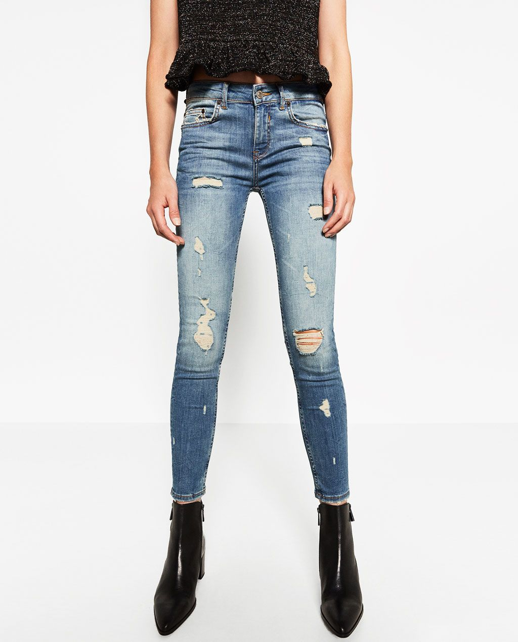 d086688f MID-RISE SKINNY JEANS-Damaged-JEANS-WOMAN | ZARA United States ...