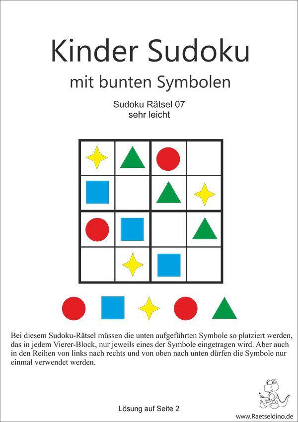 Kinder Sudoku leicht mit Symbolen - schwer | Kernzeit | Pinterest