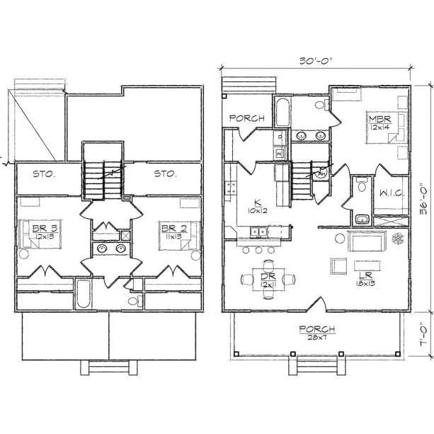Bentley III Bungalow Floor Plan With 3 Bedrooms 30x43 House Plans