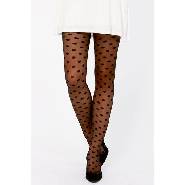 5b1101f7002 Tabbisocks Popping Dots Sheer Black Polka Dot Tights ❤ liked on Polyvore  featuring intimates