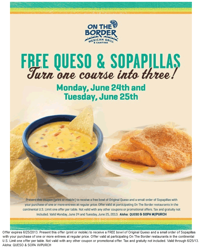 pinned june 24th free bowl of queso sopapillas with your entree