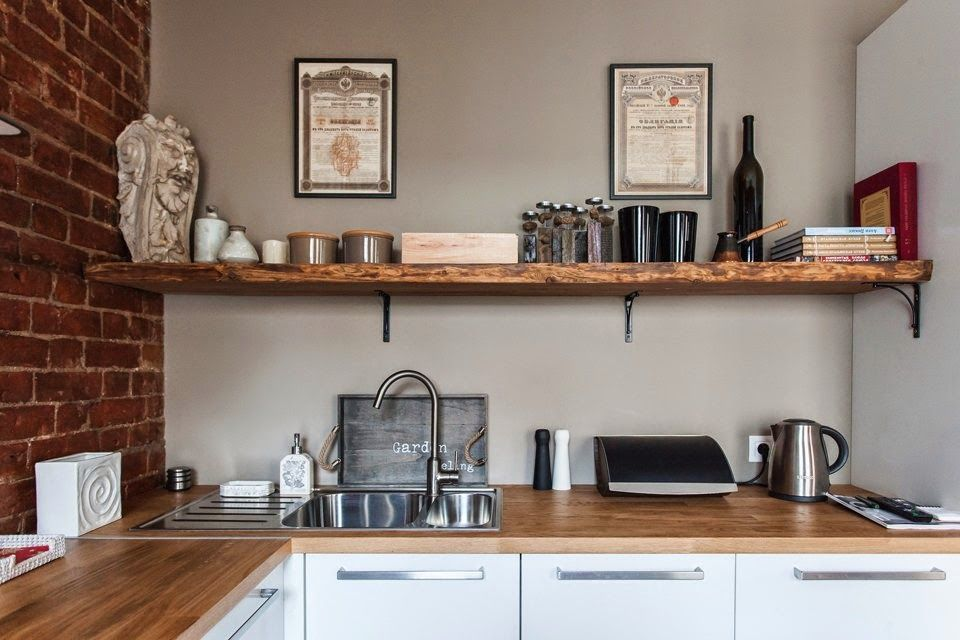 Renovated Studio Apartment Kitchen Shelf. I Like The Built In Drainboard