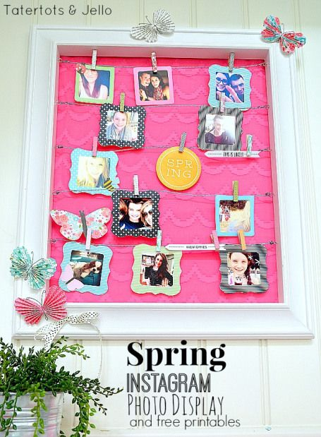 FREE Printable Instagram Photo Frames!! Perfect to make yourself this cute Spring Photo Display! -- Tatertots and Jello #DIY #Spring