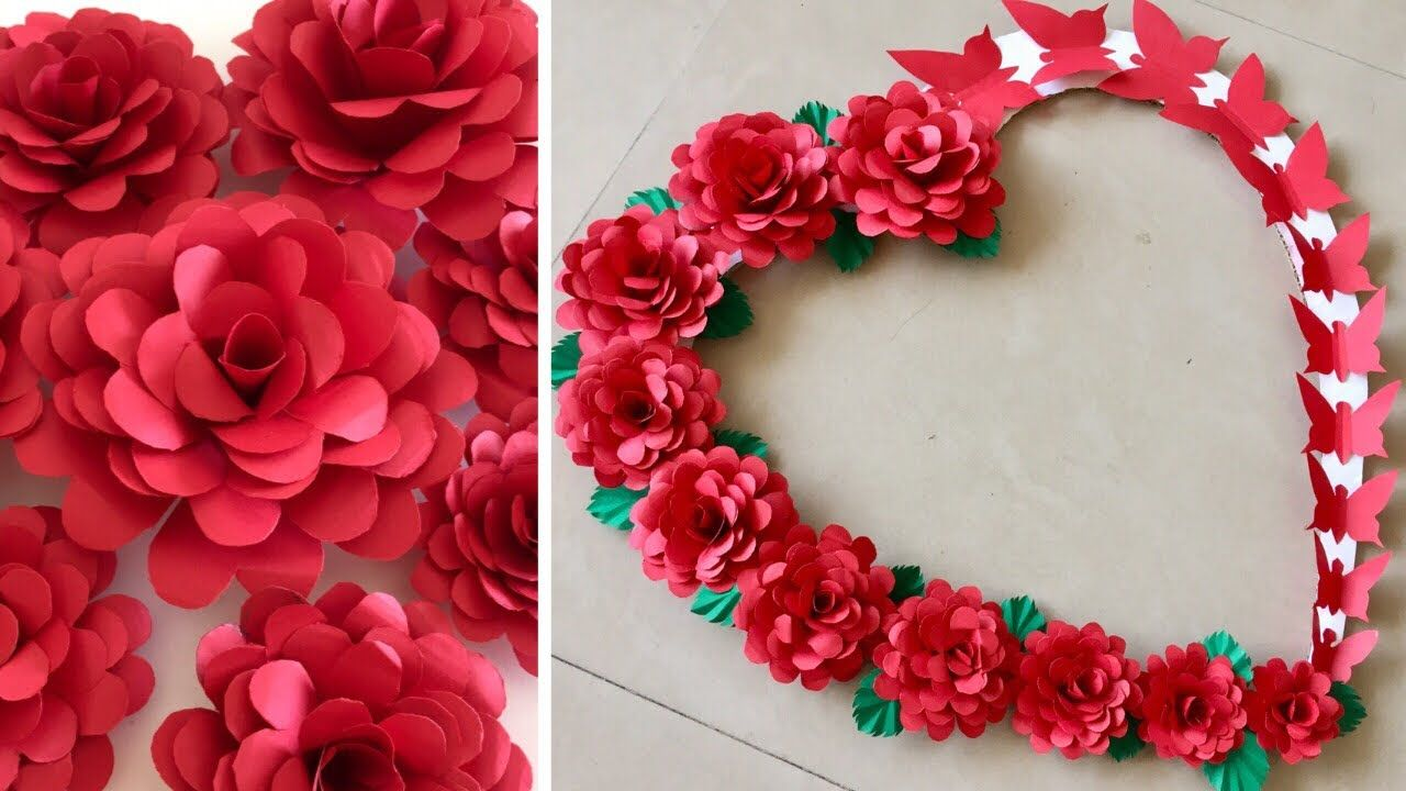Heart Shape Wall Hanging For Valentine Paper Rose Flower Wall Hanging Valentine Wall Decor Ideas Youtube In 2020 Paper Roses Hanging Flower Wall Flower Wall