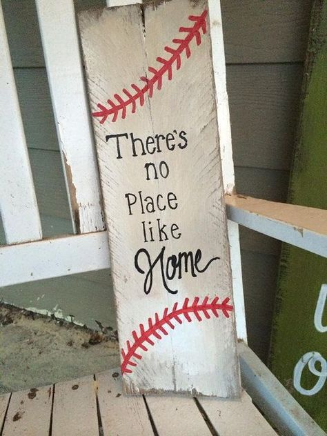 Photo of rustic wood baseball sign, There's no place like home, rustic baseball sign, cute baseball sign