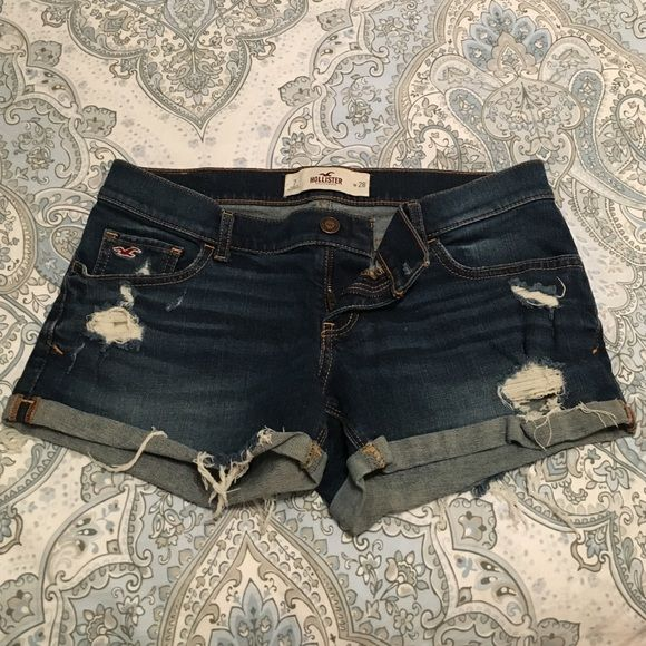 Jean shorts Hollister Jean shorts with rips. Hollister Shorts Jean Shorts