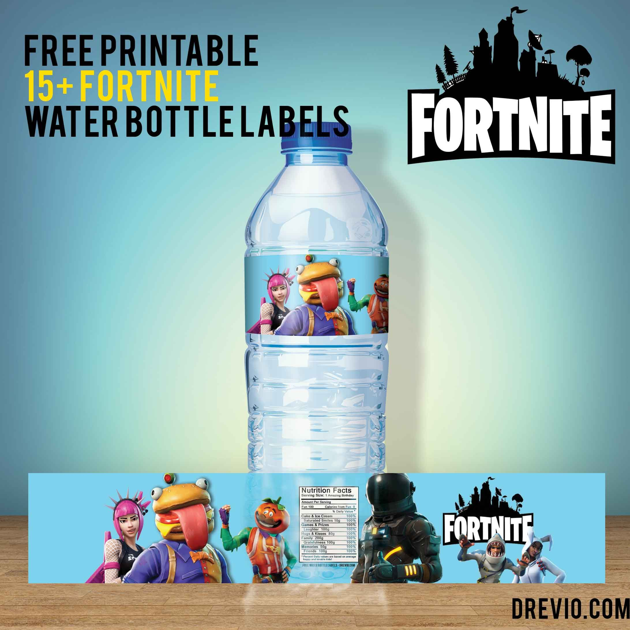 image about Free Fortnite Printable Labels named 15+ Totally free Fortnite Drinking water Bottle Labels Cost-free Printable