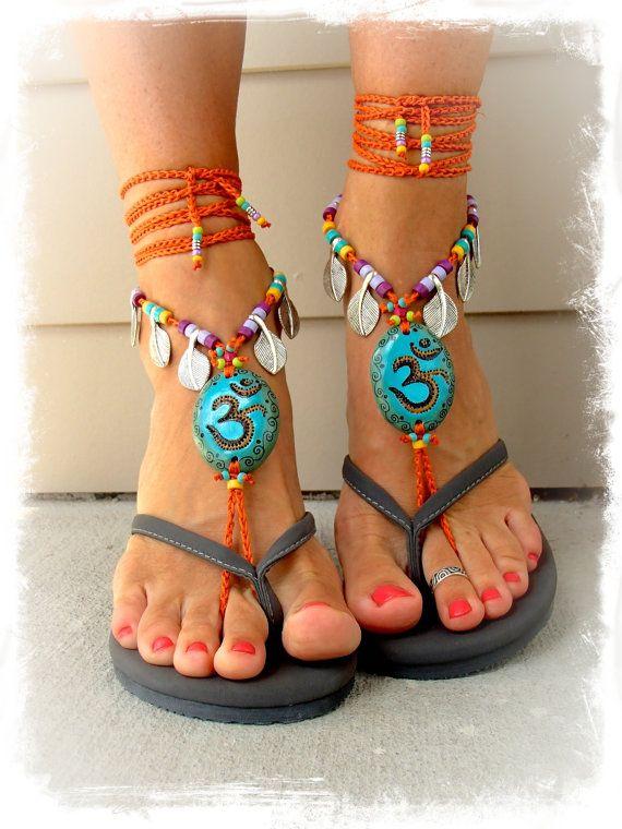 For Valerie. OM BAREFOOT sandals Yoga wedding Belly by GPyoga, $94.00