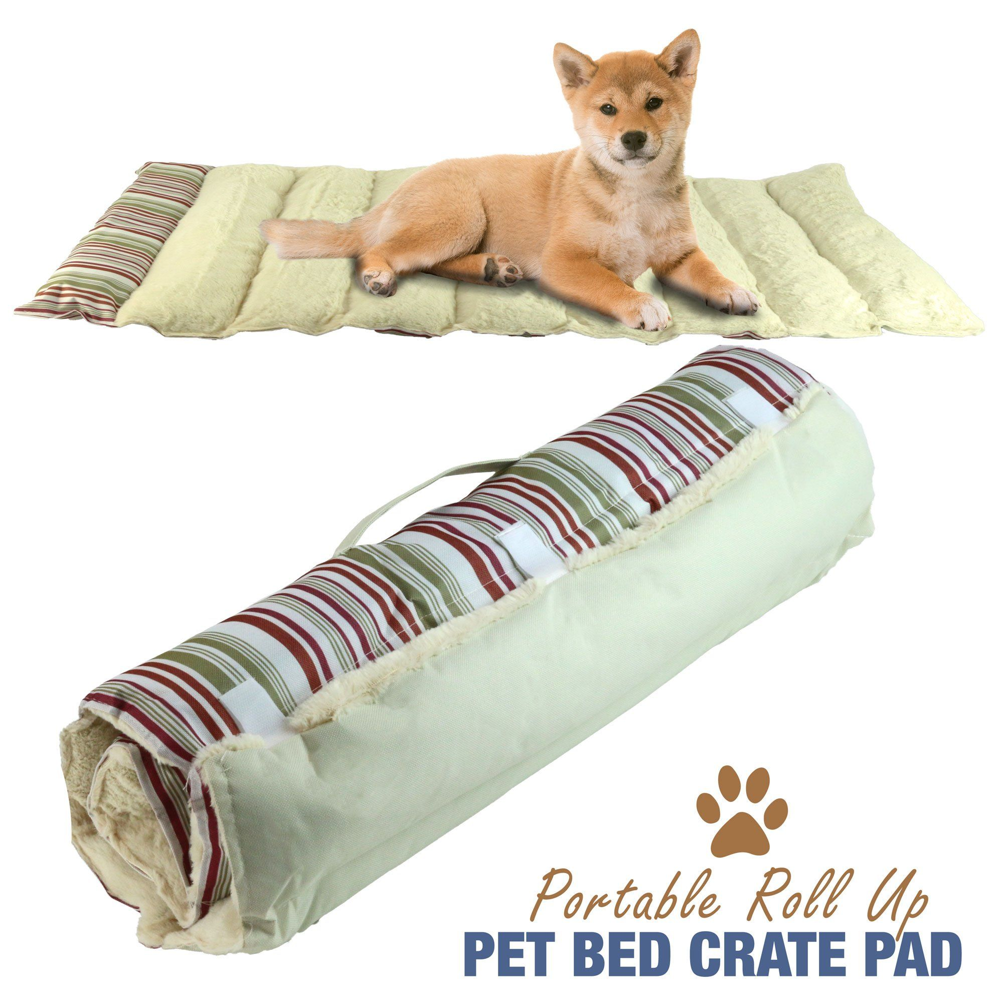 portable dog bed roll up pet mat crate pad travel camping carrier