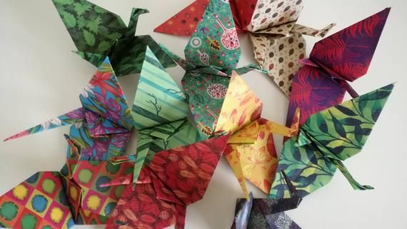 Photo of Set of 12 handmade origami colourful cranes (Nature patterns)