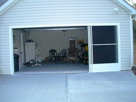 Pin 1 Of 2 Pics A Got To Have Garage Door Screen Panels Slide Open Horizontally 1 At A Time So Great A Garage Door Styles Garage Screen Door Garage