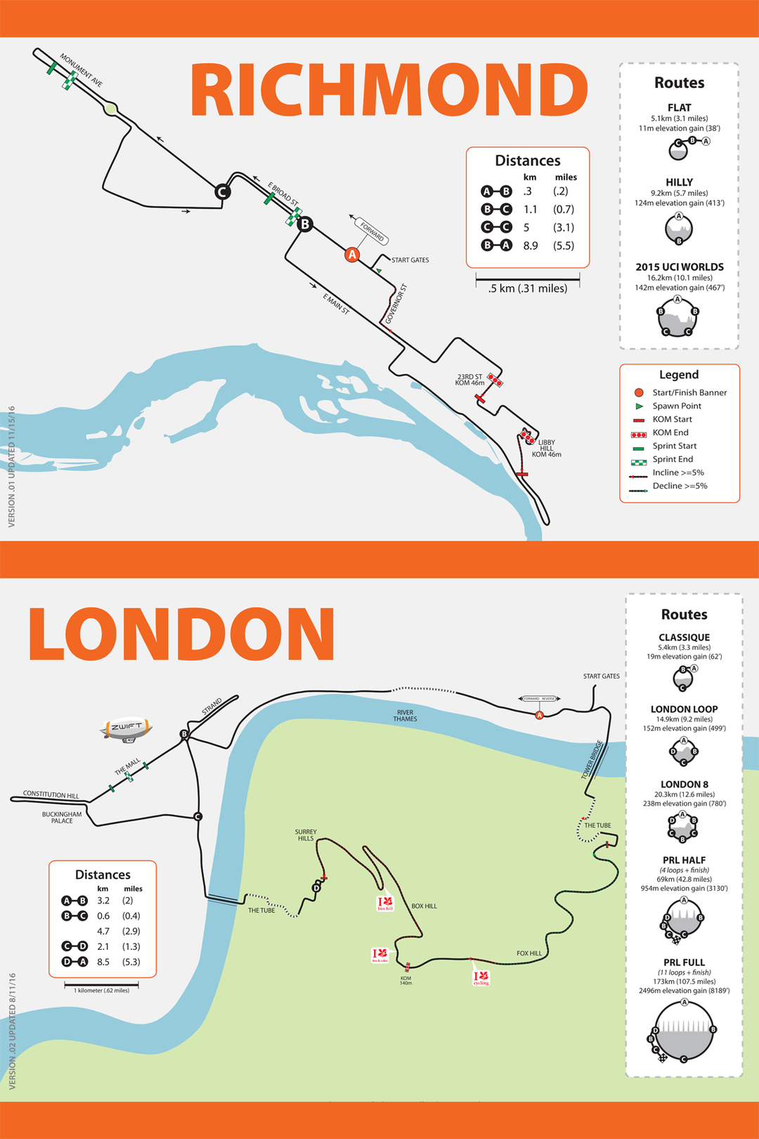 Watopia, Richmond, and London map posters in stock | ZwiftBlog