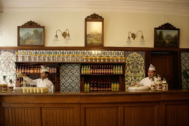 Boza being served at the Vefa Bozacisi in Istanbul