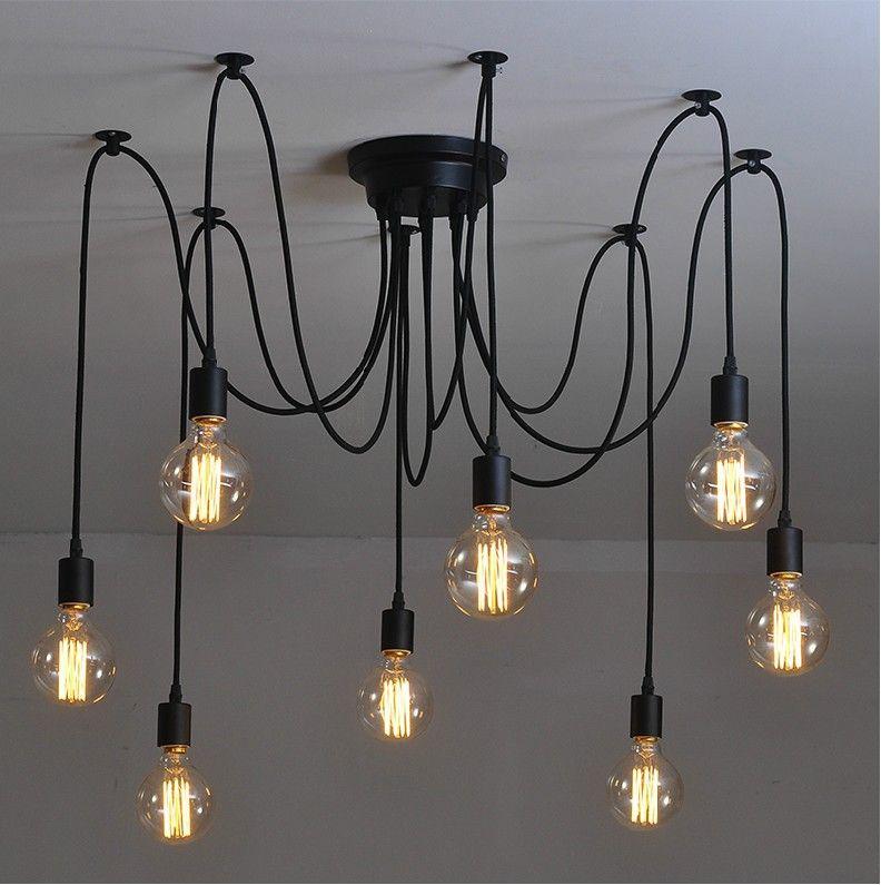 Trouver plus lustres informations sur 8 bras edison ampoule pendentif lustre moderne vintage loft bar restaurant chambres e27 art pendentif lampe