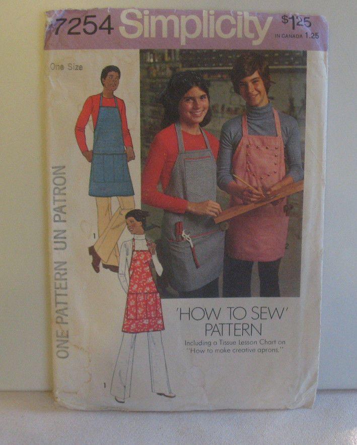 Simplicity Aprons Sewing pattern No. 7254 Pockets Kitchen Apron Tool ...