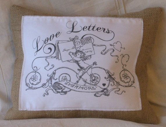 Burlap Love Letters Pillow w/ Lined Letter by CasualEleganceHome, $28.00