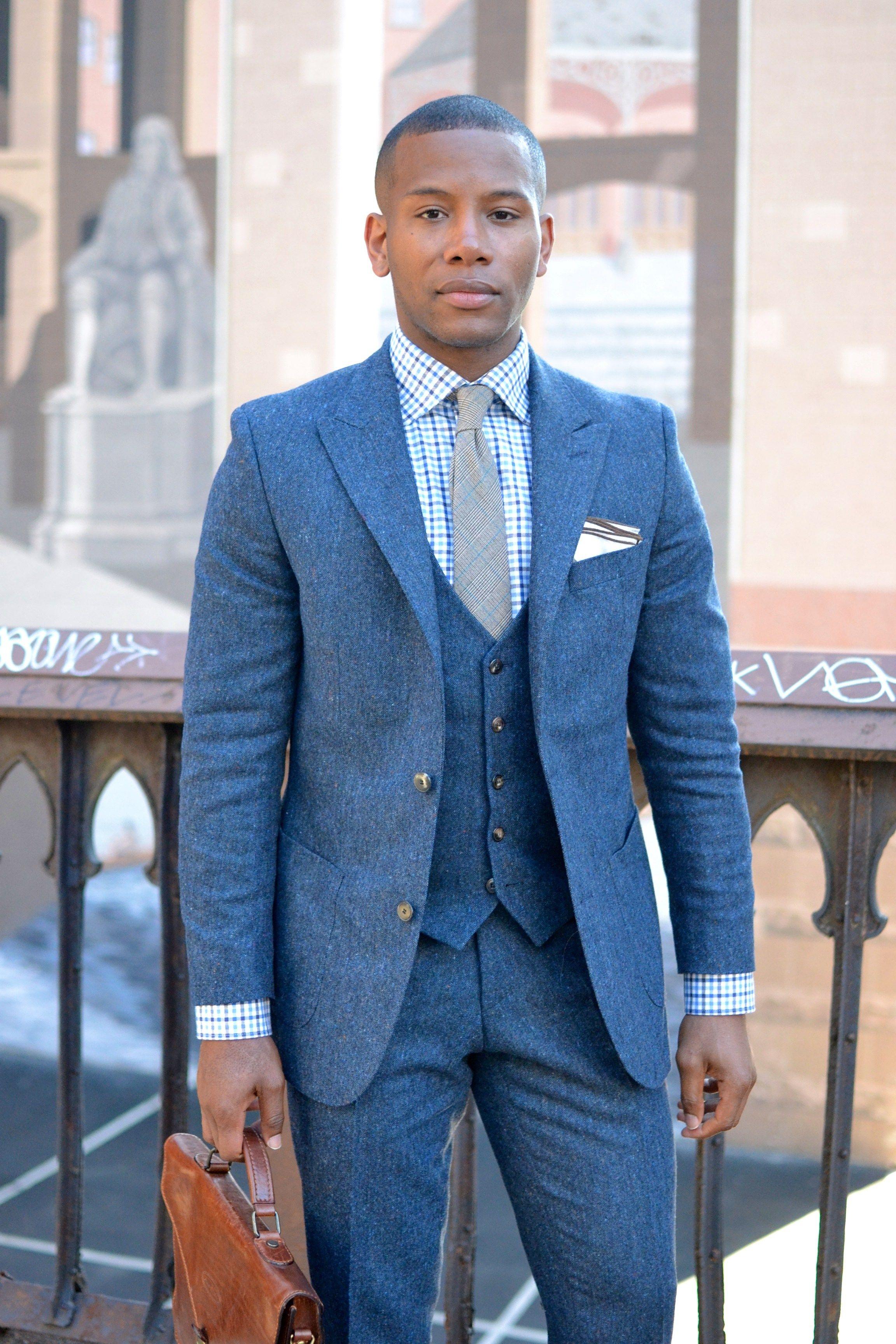 Dragon Inside Blue Donegal Flannel Suit   Jackets/Suits/pants ...