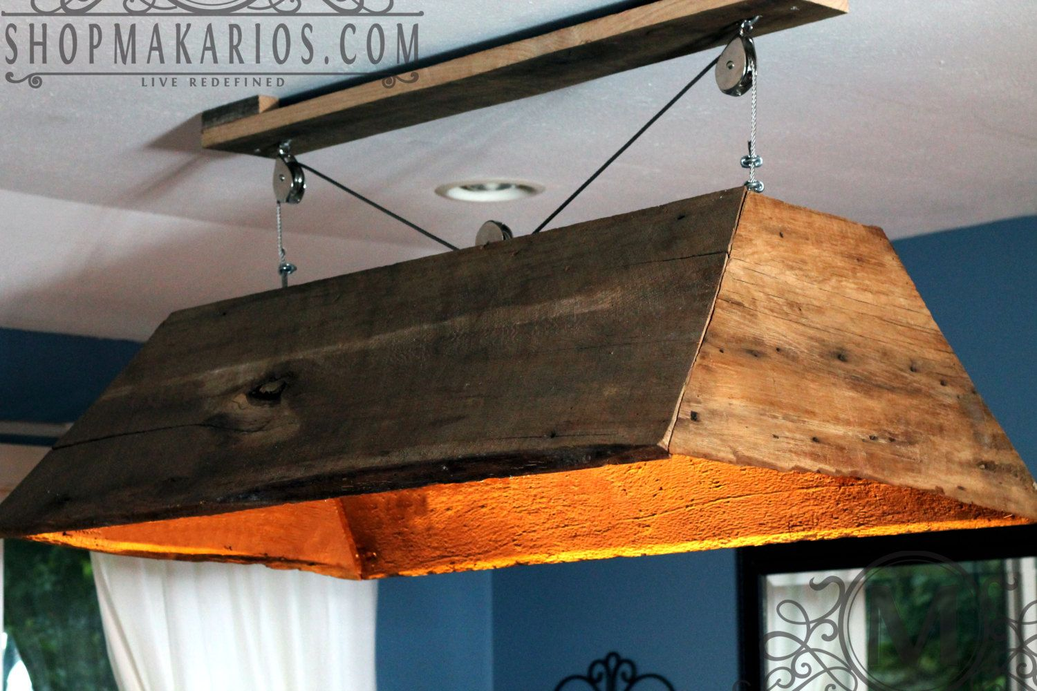 This is a one of a kind hanging light fixture made from 19th hanging barn wood light for the basement ab ove the pool table greentooth Choice Image