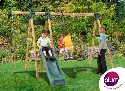 Plum Meerkat Wooden Garden Swing Set And Climbing Frame Let The Adventures Begin With This Fun Woode Swing And Slide Set Wooden Garden Swing Wooden Swing Set