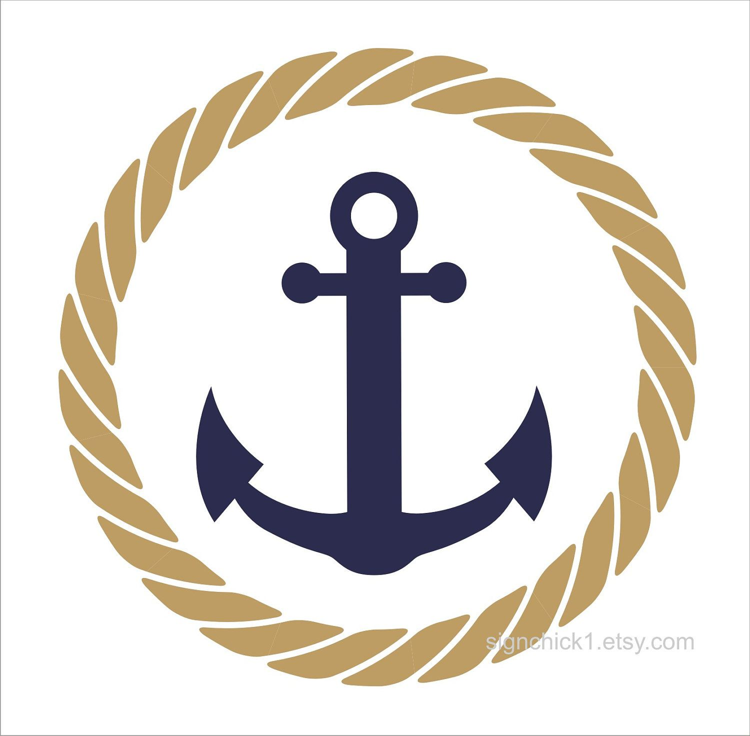 Cordage Marin Décoration Rope Circle With Anchor Wall Decal Nautical Wall Decor 12