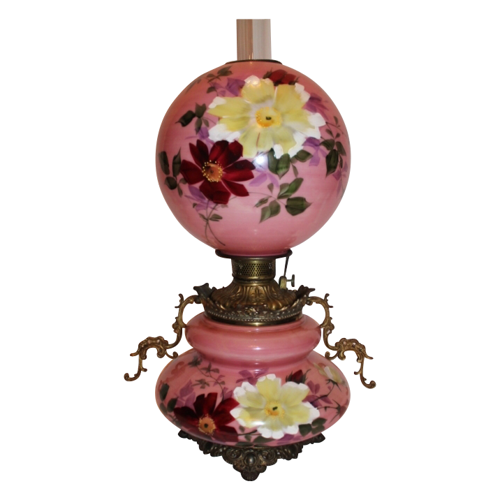 """Museum Quality ~ LARGE Gone with the Wind Oil Banquet Lamp ~RARE 11"""" SHADE~ Breathtaking BEAUTY WITH HAND PAINTED FLOWERS ~ Outstanding Fancy Ornate Handled Font Spill Ring and Base~ Original Condition ~Original Parts ~ Collector Piece"""