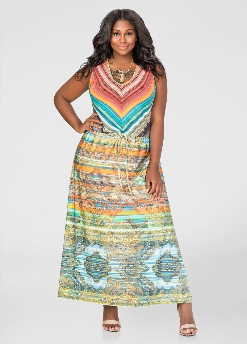Printed Drawstring Maxi Dress Plus Size Dresses Ashley Stewart 010 61666xas Maxi Dress Drawstring Maxi Dress Plus Size Dresses [ 1115 x 800 Pixel ]