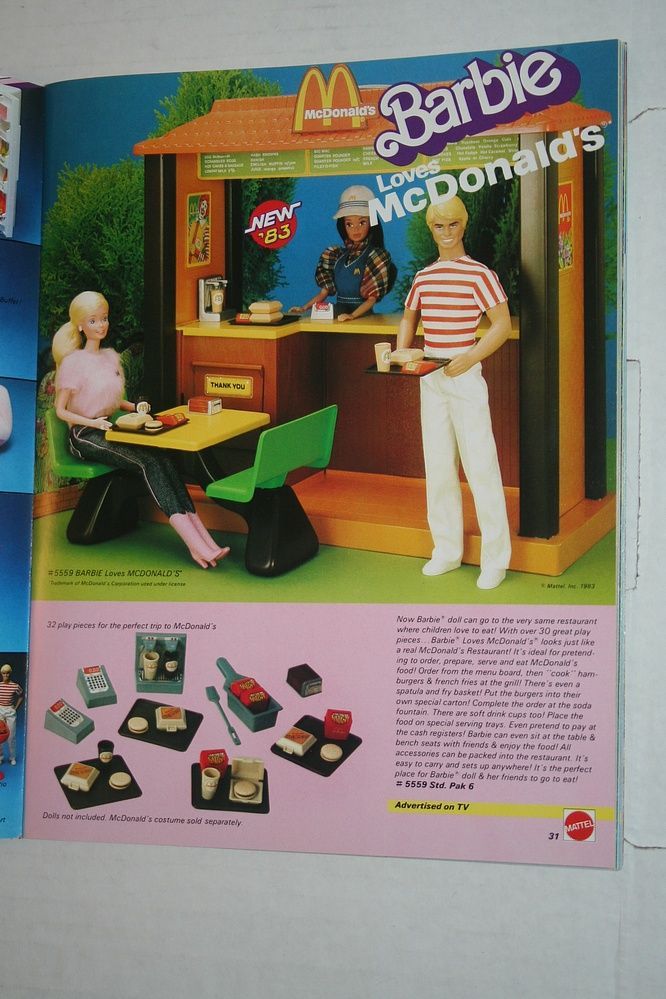 Vintage Barbie Loves McDonald's playset-All of my dolls worked there