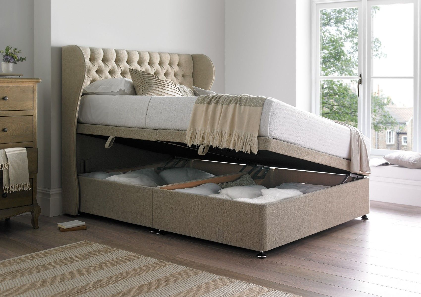 Healthopaedic Ottoman Storage Bed Base - Ottoman Beds - Beds