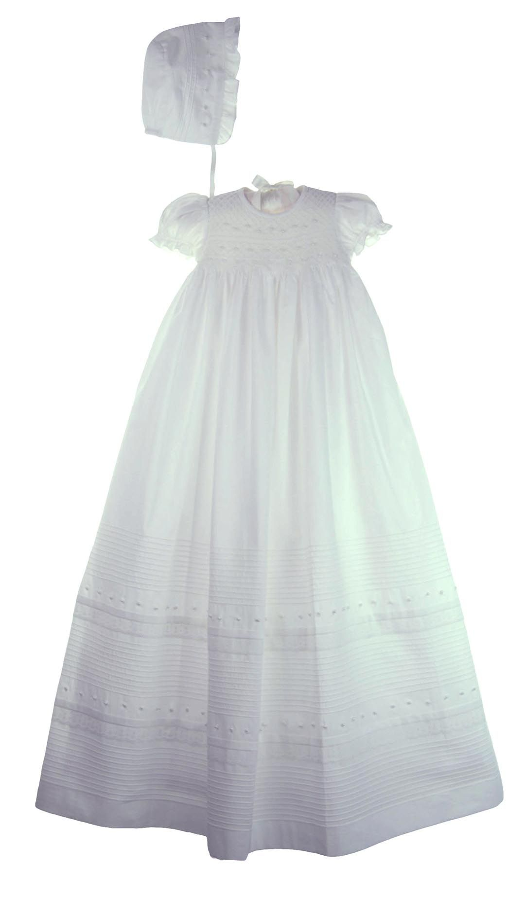 54a4e7fa4e82 NEW Will Beth White Cotton Smocked Christening Gown with Seed Pearls and  Rows of Pintucks