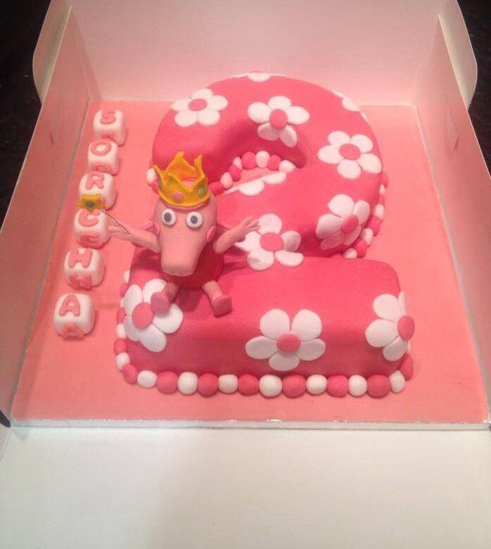 Peppa Pig Number 2 Cake Pig Birthday Cakes Baby Birthday Cakes