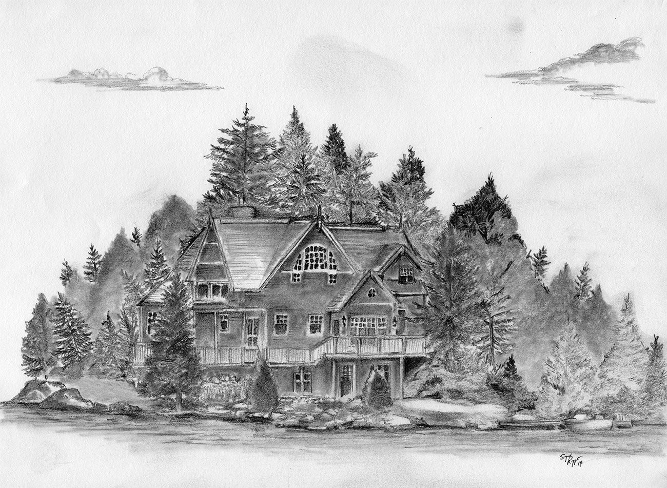 Cottage on a lake, pencil sketch on normal sketchpad paper ...