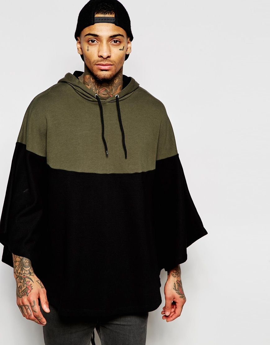 ASOS Zip Up Hooded Cape With Contrast Panel