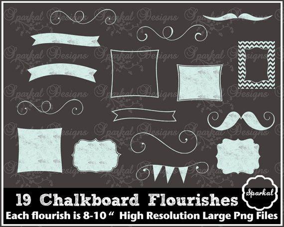 Chalkboard Frames Rustic Wedding Clip Art Banner Clipart Flourishes Instant