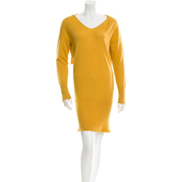 Pre-owned Yigal Azrou�l Wool Sweater Dress ($145) ❤ liked on Polyvore featuring dresses, yellow, wool dresses, wool sweater dress, long sleeve wool dress, v neck dress and long sleeve sweater dress