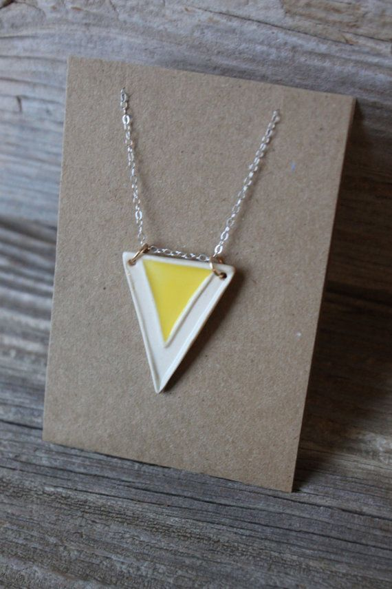 Yellow and White Porcelain Pennant Necklace  by tashamckelvey, $30.00