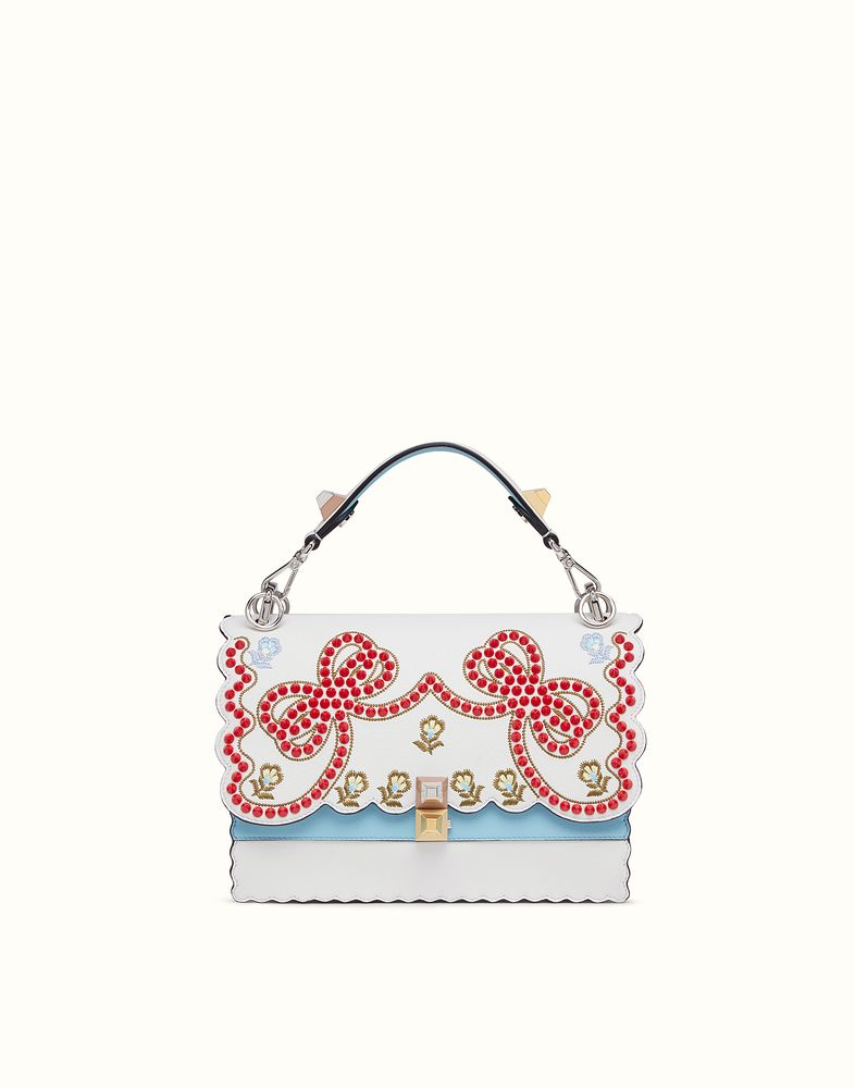 4dd7fb615b FENDI KAN I - Bag in white leather with embroidery