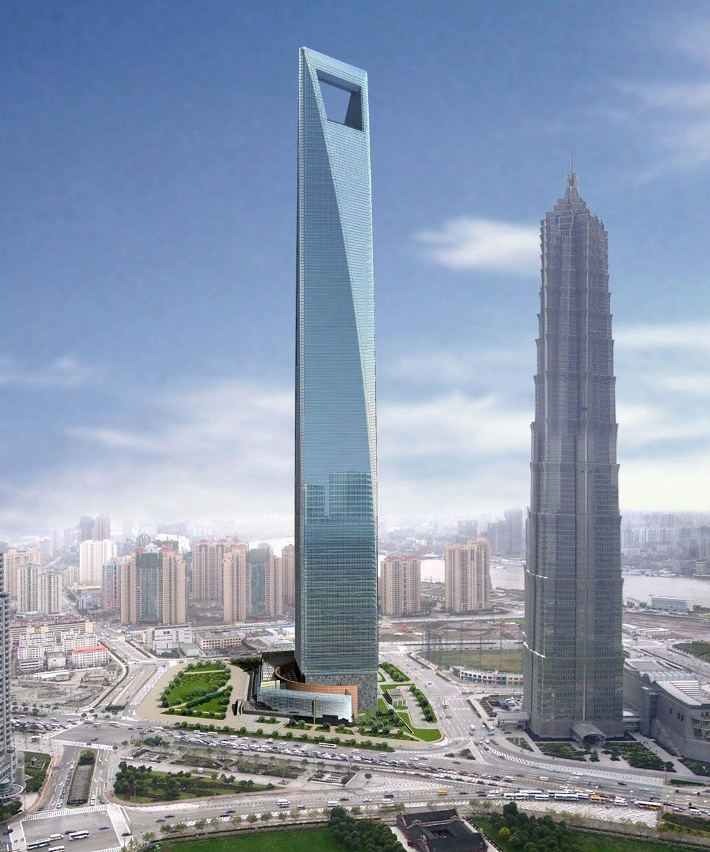 Kohn Pedersen Fox Shanghai World Financial Center 2001 460m Zabawa Skala Miejsca Przesiadkowe W Windac Gratte Ciel Comment Construire Batiments Futuristes