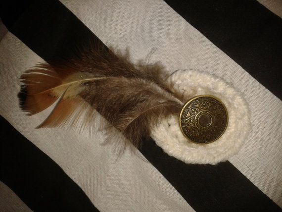 Mini Crochet Fascinator Hair Clip Cream with Brass Button Steampunk/Goth/Burlesque/Party/Wedding