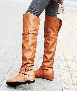 Womens Brown Sexy Buckle Strap Flat Over The Knee Riding Boots ...