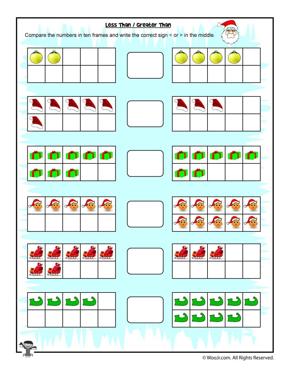 Easy Counting Greater Than/Less Than Worksheet Christmas