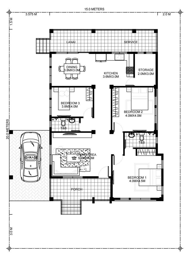 Home Design Plan 15x20m With 3 Bedrooms Home Design With Plansearch Bedroom House Plans Three Bedroom House Bungalow House Design