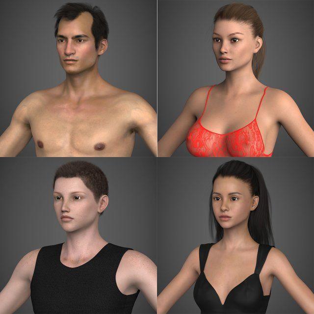 Realistic Human Character Collection 3D Model  max  c4d  obj