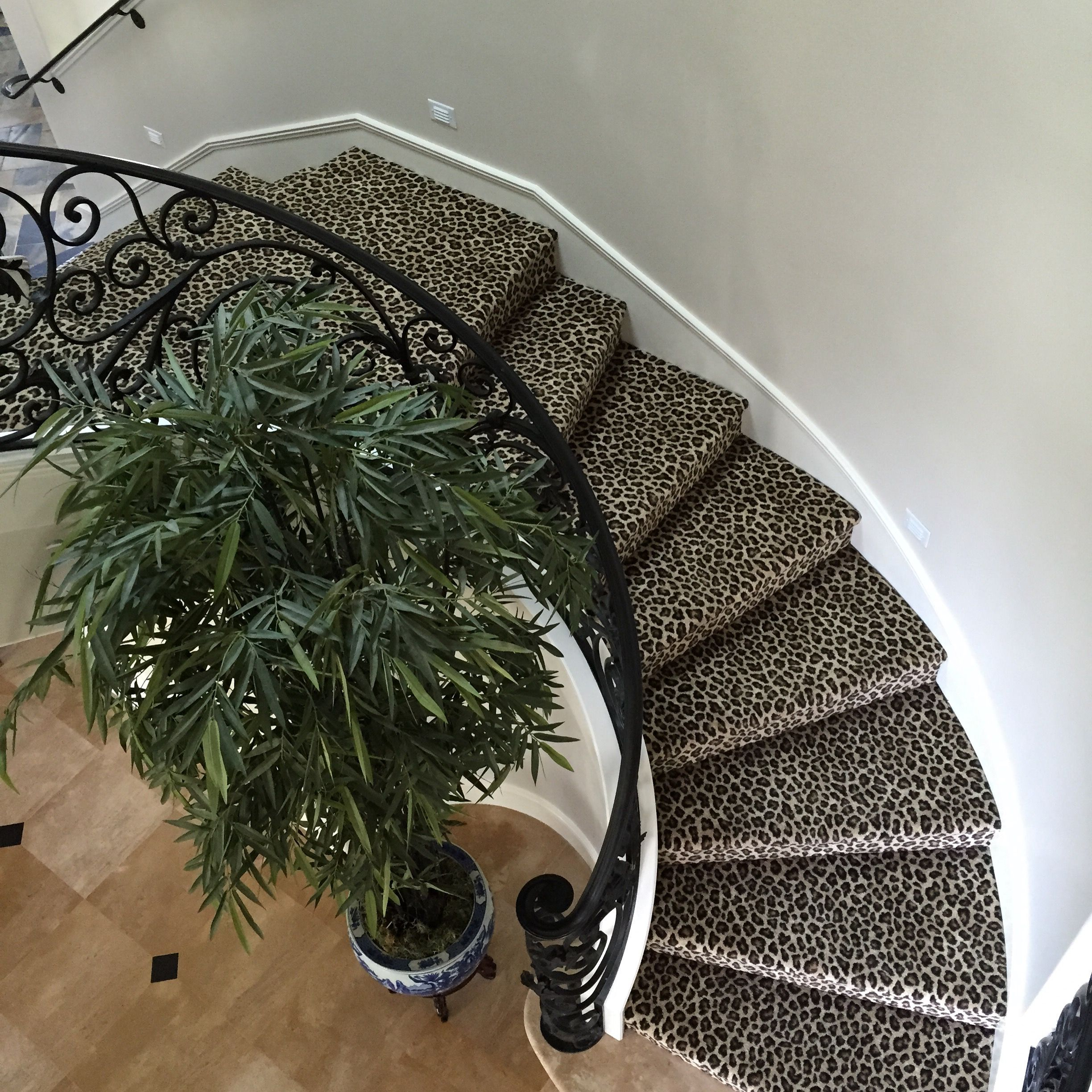 Leopard Animal Patterned Carpet Installed On Curved Stairs For A Repeat  Client In Newport Beach,
