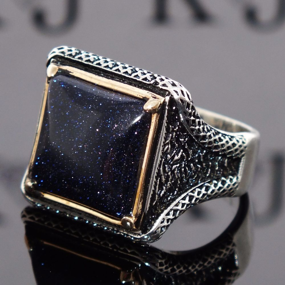 925 Sterling Silver Mens Ring with Blue Aventurine Unique artisan ...