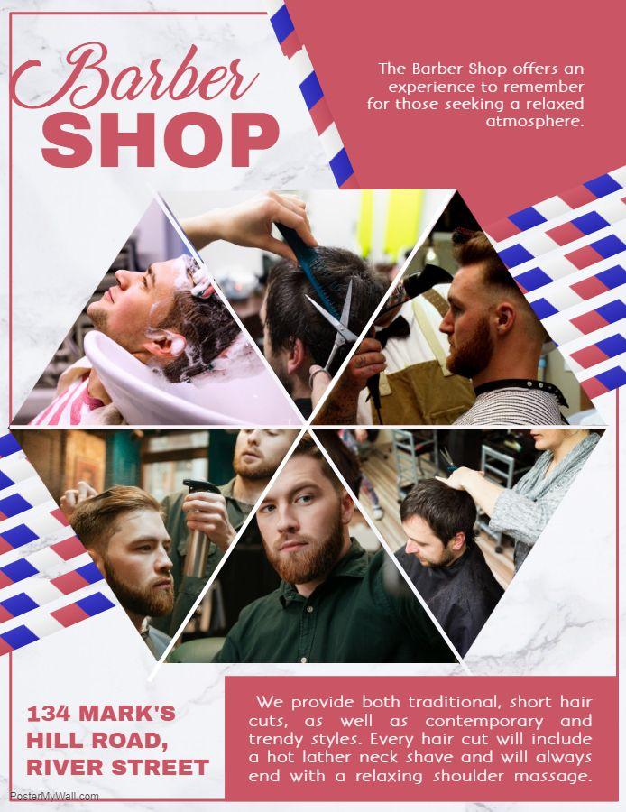 Men S Hair Salon Advertisement Flyer Template Flyer Barber Shop Business Flyer Templates